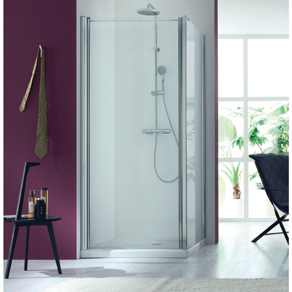 paroi de douche porte ouvrante largeur 97 101cm verre transparent basic segment bourg en. Black Bedroom Furniture Sets. Home Design Ideas