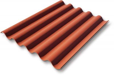 Plaque ondulée fibres-ciment Coloronde 5 ondes rouge latérite 1,25x0,92 m ETERNIT - Montceau les ...