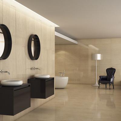 Carrelage sol salle de bains Geo Bambu grés émaillé couleur beige ...