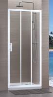 Paroi CONCERTO accès coulissant 3 vantaux 120 blanc verre transparent