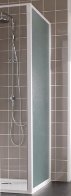 Paroi de douche ATOUT2 fixe réversible 090cm blanc verre granité LEDA
