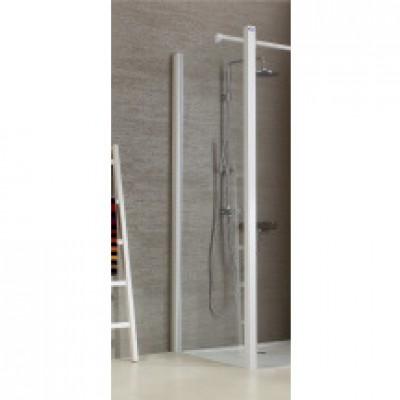 Paroi de douche JAZZ fixe réversible 090 blanc verre transparent LEDA