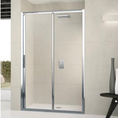 Paroi de douche  fixe LUNES 2P 144cm coulissant en verre transparent couleur blanc NOVELLINI