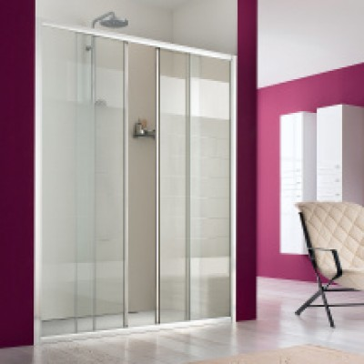 paroi de douche portes coulissantes xxl 2 volets titane larg 157 5 161 5cm verre s rigraphi. Black Bedroom Furniture Sets. Home Design Ideas