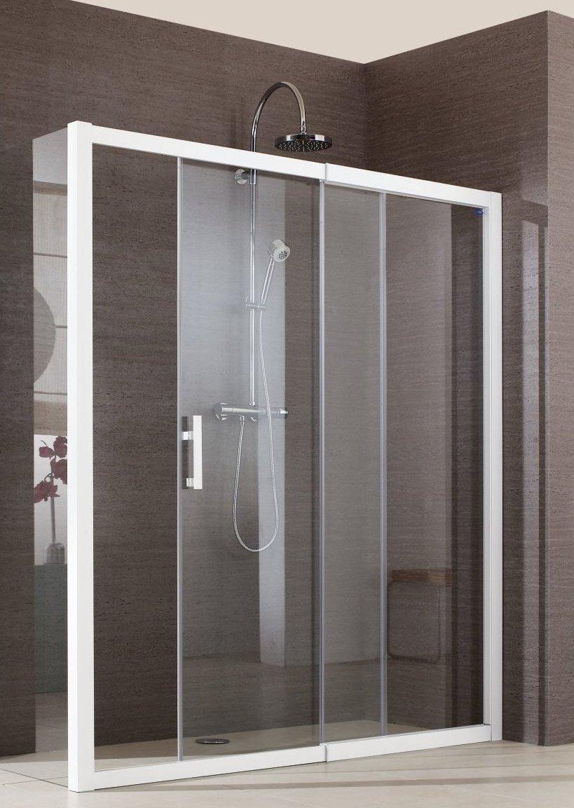 Porte de douche jazz fixe coulissant 136cm blanc verre for Porte de douche fixe