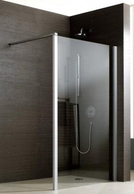 Paroi de douche JAZZ fixe réversible 120 argent verre transparent LEDA