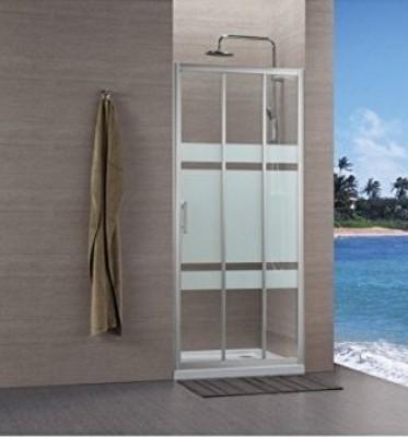 Paroi CONCERTO accès côté 3 vantaux 90cm blanc verre transparent