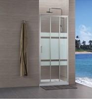 Paroi CONCERTO accès côté 3 vantaux 90cm argent verre transparent ALTERNA