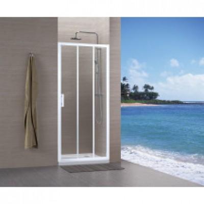 Paroi CONCERTO accès de face coulissant 3 vantaux 100cm blanc verre transparent