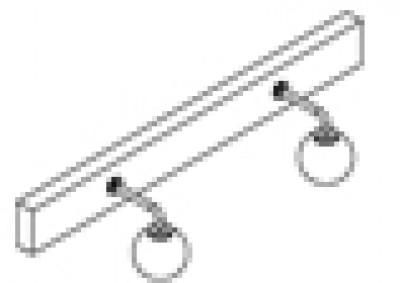 Bandeau halogène 70 2x25W melamine chêne blanc DECOTEC