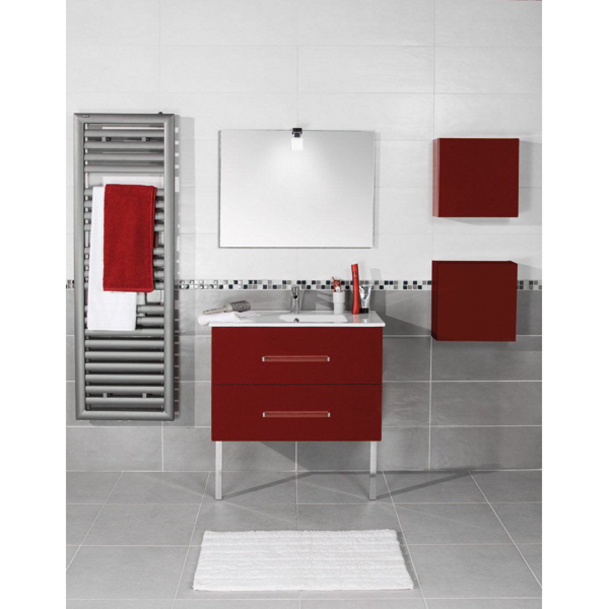 Meuble pep 39 s 80cm 2 tiroirs rouge alterna rennes 35920 for Meuble rouge