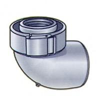 Coude à 90° en aluminium/PVC diamètre 60/100 système collier UBBINK