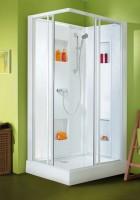 Cabine de douche IZI BOX 100x80cm porte coulissante en angle confort, verre transparent - LEDA