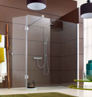 Paroi de douche DJANGO fixe 90 vitrage dépoli dégradé brillant LEDA