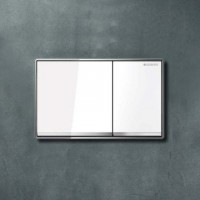 Plaque declechement OMEGA60 métal verre blanc GEBERIT