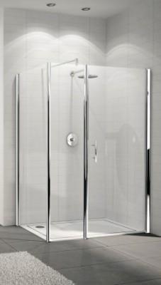 Paroi de douche YOUNG en alignement battant + fixe 78cm verre transparent silver NOVELLINI