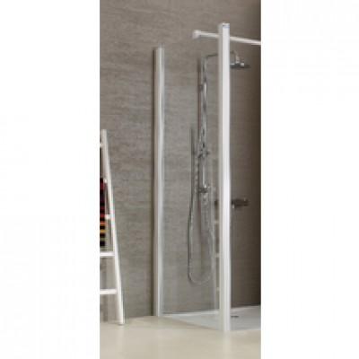 Paroi de douche fixe réversible JAZZ, pour receveurs de 90cm, profilé laqué blanc LEDA