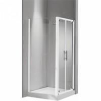 Paroi de douche LUNES aluminium coulissante fixe 81 vettre transparent blanc NOVELLINI