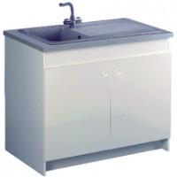 Meuble sous-évier SESAME 120cm 2 portes avec rabattable blanc AQUARINE