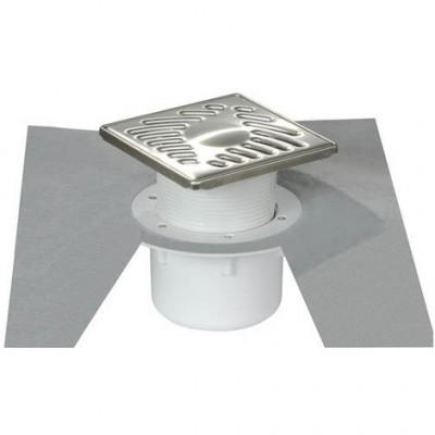 Siphon 15x15mm grille inox sortie horizontale D.50 SICA15IH (Bte) NICOLL