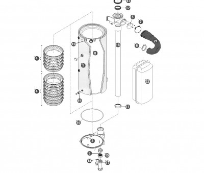 Siphon condensation btp/ bico5.0 FRISQUET