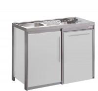 Cuisinette METALLINE Longueur 120 cm + Porte frigo blanc MODERNA