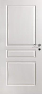 Bloc-porte alvéolaire postformée traverse droite VILLA prépeint, largeur 930mm DP, huisserie 67x57mm à recouvrement pêne dormant demi-tour KEYOR