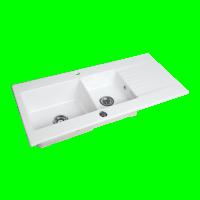 Evier à encastrer BYBLOS 2 cuves 116x53cm blanc ALLIA