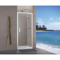 Paroi CONCERTO accès porte pivotante 70 blanc verre transparent