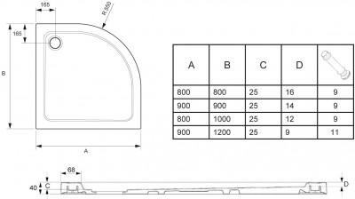 Receveur FLIGHT 100x80D extra-plat 1/4 de rond JACOB DELAFON