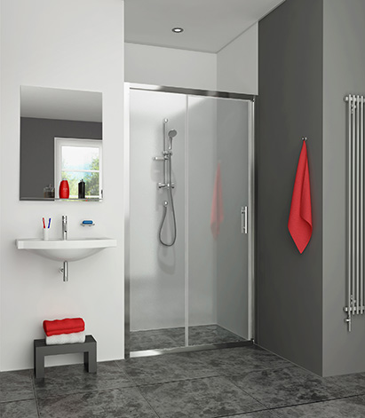 Porte coulissante xxl 2 l ments gauche xs 1160 argent - Porte coulissante salle de bain pas cher ...