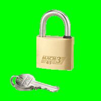 Cadenas mach 3 laiton poli anse inox 35mm 2 clés THIRARD