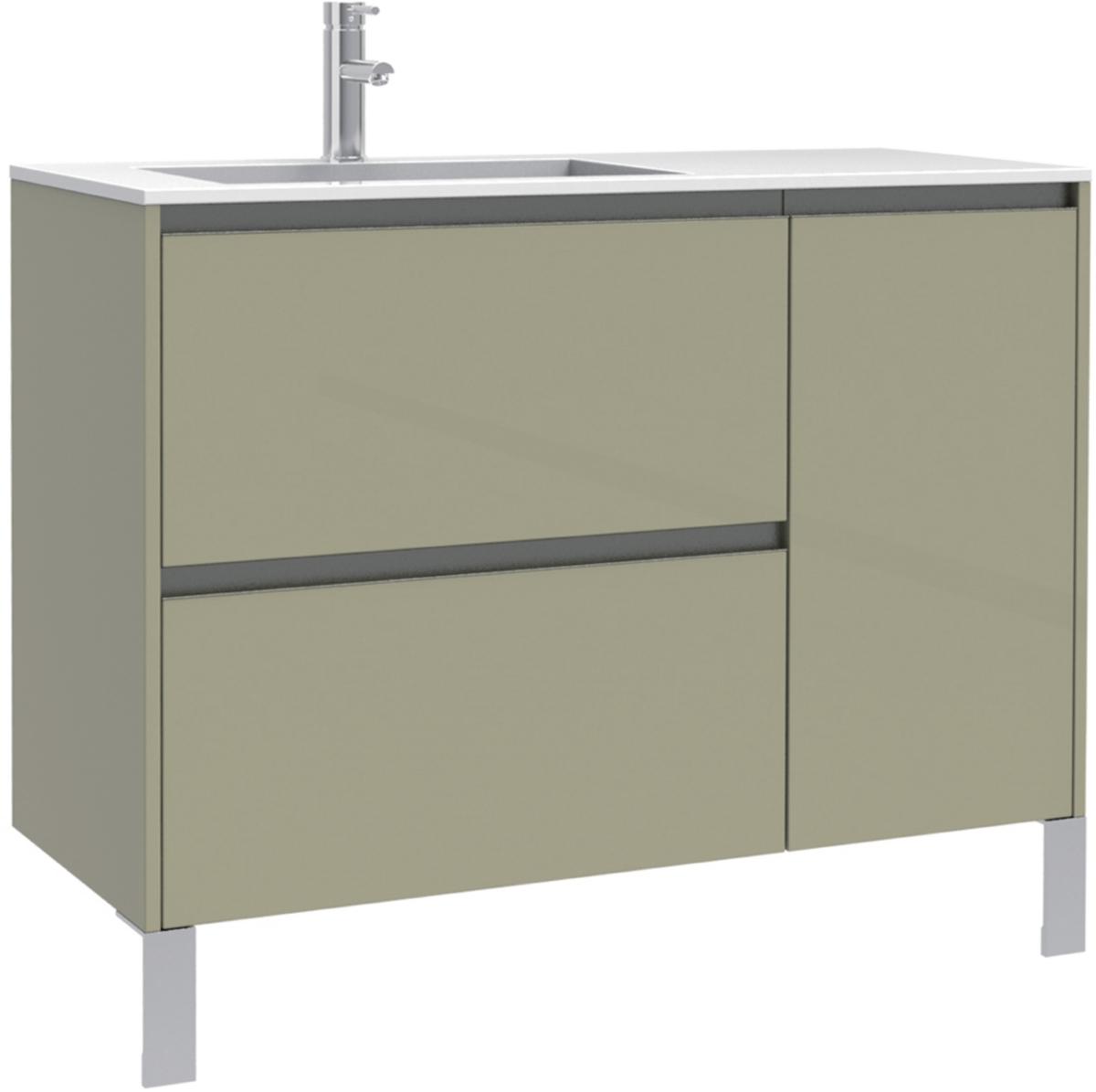 Meuble sous vasque plenitude 105cm 2 tiroirs 1 porte pour for Porte pour meuble salle de bain