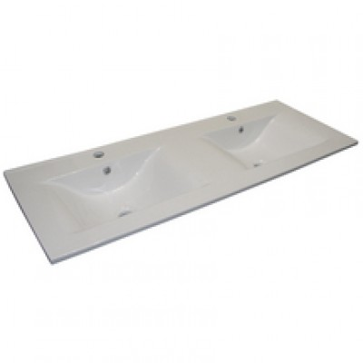 Plan céramique blanc ANGELO 2 vasques NEOVA