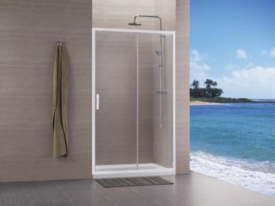 Paroi CONCERTO accès faces 2 pivotant 80 blanc verre transparent