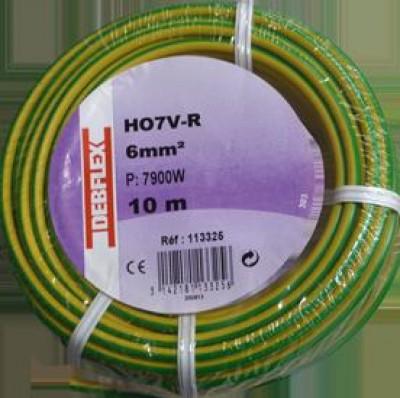 Fil rigide HO7V-R 6mm² vert jaune au mètre DEBFLEX