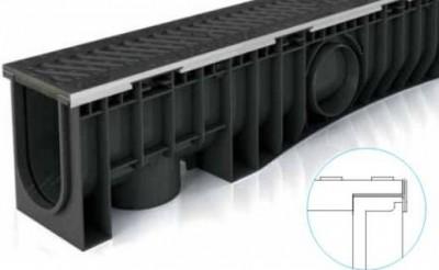Caniveau PEHD NEOMAX 200H grille fonte C250 LR +2CLAV 1ML  ASOPLAST