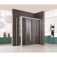 Porte de douche JAZZ fixe + coulissant 116 argent verre transparent LEDA
