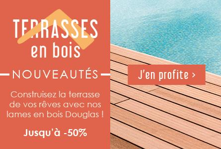 Nouveautés Terrasse : Lames en bois Douglas jusqu'à -50%